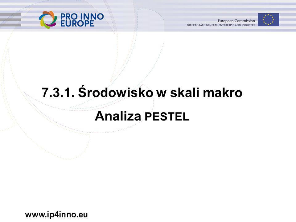 www.ip4inno.eu 7.3.1. Środowisko w skali makro Analiza PESTEL