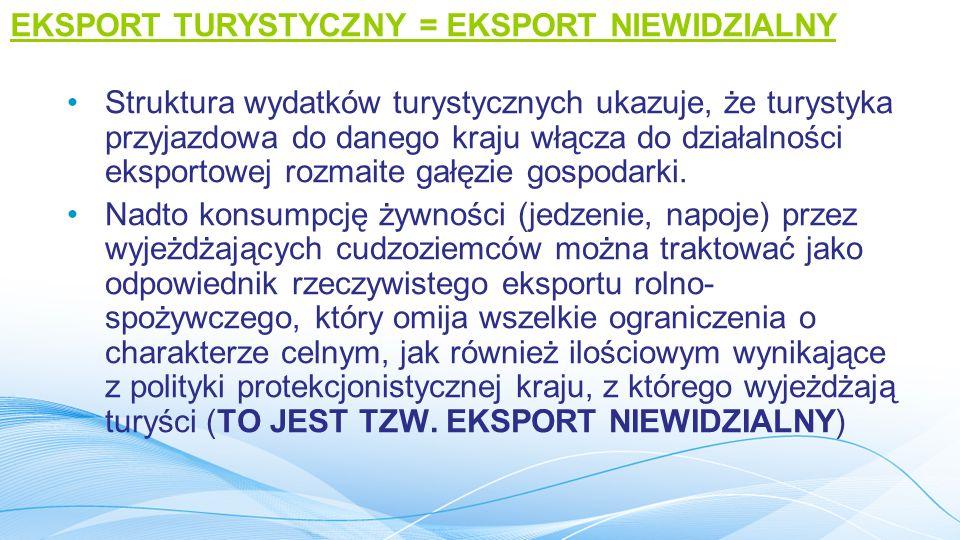 IMPORT TURYSTYCZNY Import turystyczny - to wydatki turystów krajowych na terenie krajów odwiedzanych.