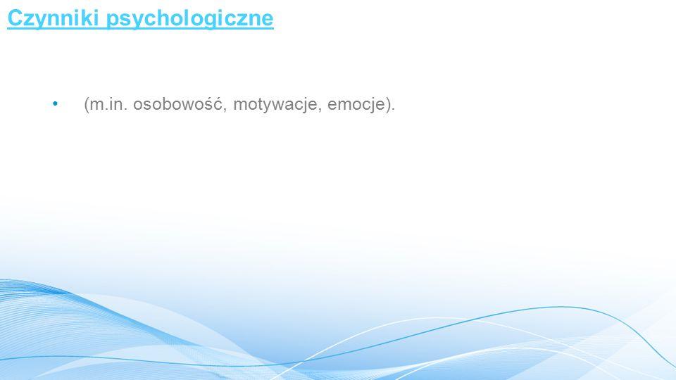 Czynniki psychologiczne (m.in. osobowość, motywacje, emocje).