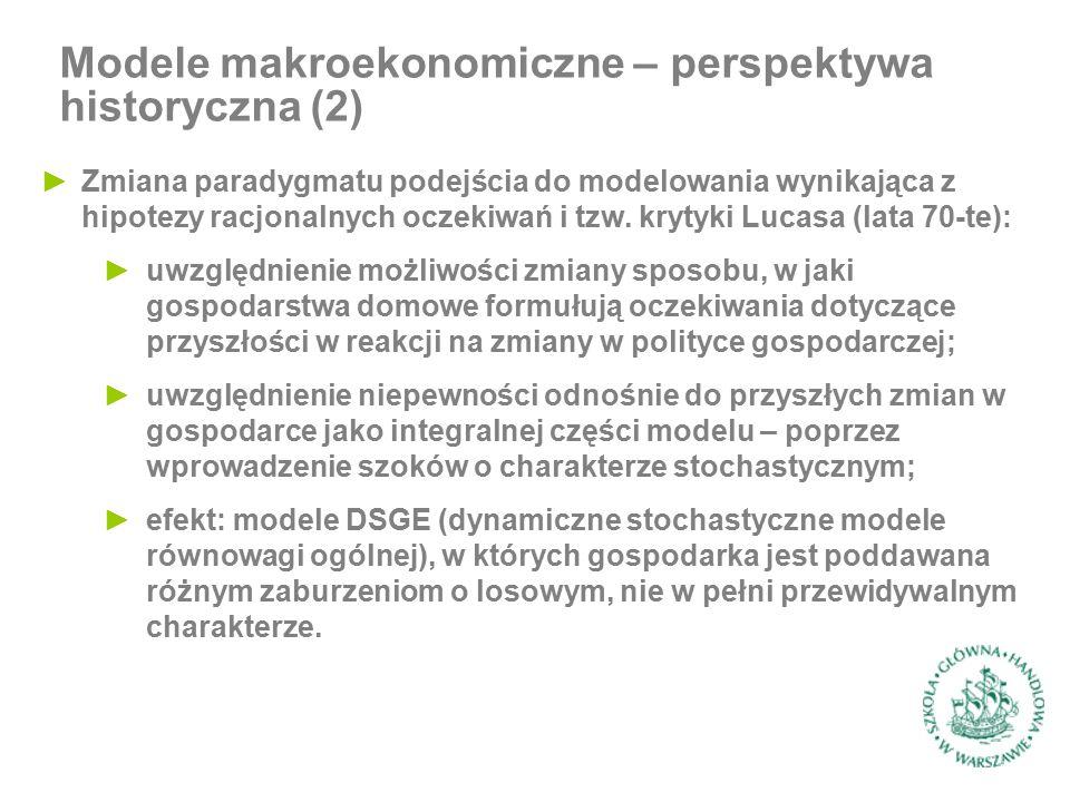 ►Zmiana paradygmatu podejścia do modelowania wynikająca z hipotezy racjonalnych oczekiwań i tzw.