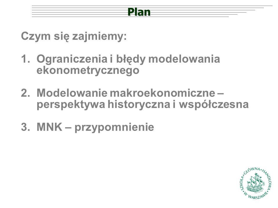 Plan Czym się zajmiemy: 1.Ograniczenia i błędy modelowania ekonometrycznego 2.Modelowanie makroekonomiczne – perspektywa historyczna i współczesna 3.MNK – przypomnienie