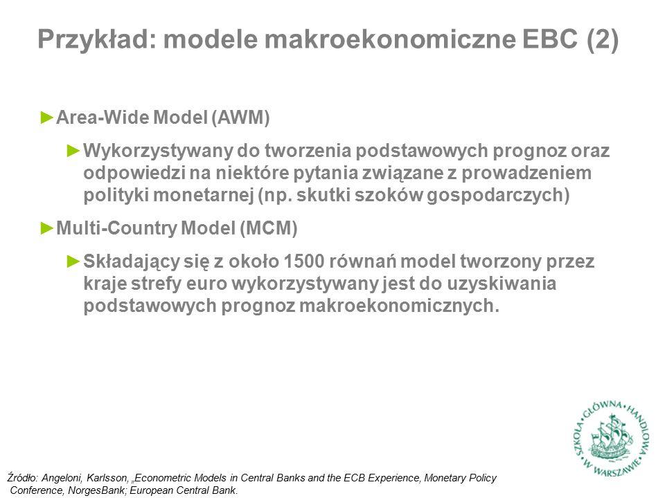 ►Area-Wide Model (AWM) ►Wykorzystywany do tworzenia podstawowych prognoz oraz odpowiedzi na niektóre pytania związane z prowadzeniem polityki monetarnej (np.