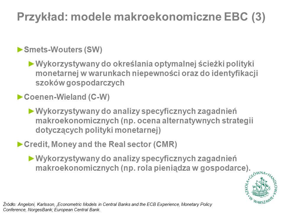 ►Smets-Wouters (SW) ►Wykorzystywany do określania optymalnej ścieżki polityki monetarnej w warunkach niepewności oraz do identyfikacji szoków gospodarczych ►Coenen-Wieland (C-W) ►Wykorzystywany do analizy specyficznych zagadnień makroekonomicznych (np.