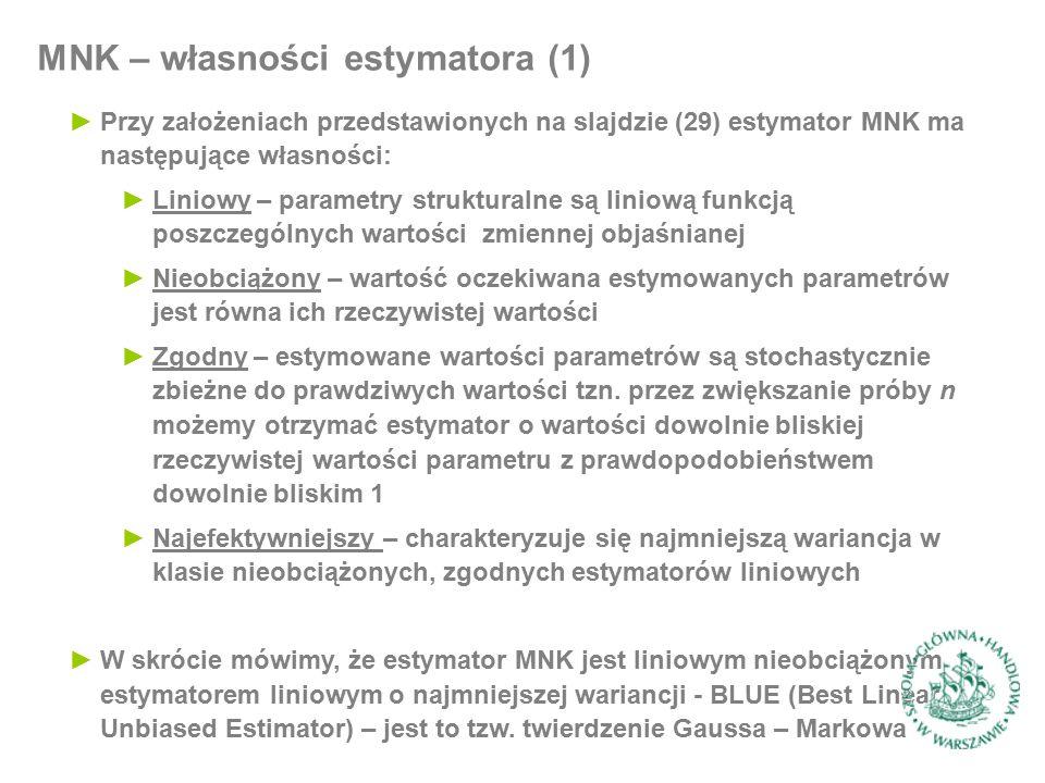 ►Przy założeniach przedstawionych na slajdzie (29) estymator MNK ma następujące własności: ►Liniowy – parametry strukturalne są liniową funkcją poszcz