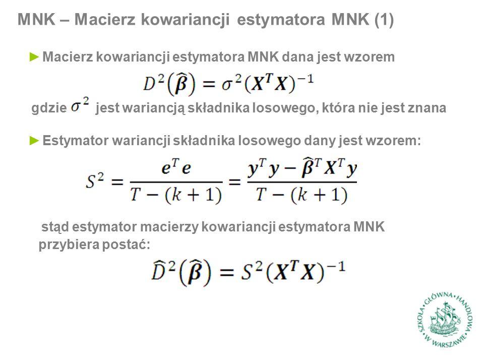 MNK – Macierz kowariancji estymatora MNK (1) ►Macierz kowariancji estymatora MNK dana jest wzorem gdzie jest wariancją składnika losowego, która nie jest znana ►Estymator wariancji składnika losowego dany jest wzorem: stąd estymator macierzy kowariancji estymatora MNK przybiera postać: