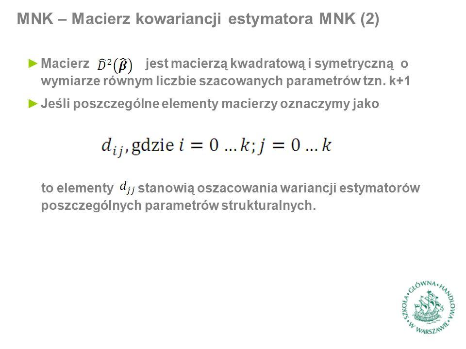 MNK – Macierz kowariancji estymatora MNK (2) ►Macierz jest macierzą kwadratową i symetryczną o wymiarze równym liczbie szacowanych parametrów tzn. k+1