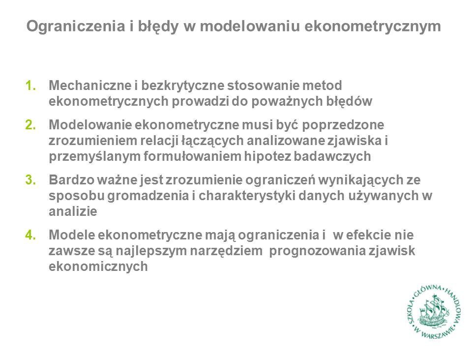 1.Mechaniczne i bezkrytyczne stosowanie metod ekonometrycznych prowadzi do poważnych błędów 2.Modelowanie ekonometryczne musi być poprzedzone zrozumie
