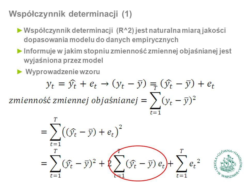 ►Współczynnik determinacji (R^2) jest naturalna miarą jakości dopasowania modelu do danych empirycznych ►Informuje w jakim stopniu zmienność zmiennej objaśnianej jest wyjaśniona przez model ► Wyprowadzenie wzoru Współczynnik determinacji (1)
