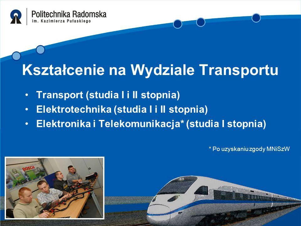 Kształcenie na Wydziale Transportu Transport (studia I i II stopnia) Elektrotechnika (studia I i II stopnia) Elektronika i Telekomunikacja* (studia I stopnia) * Po uzyskaniu zgody MNiSzW