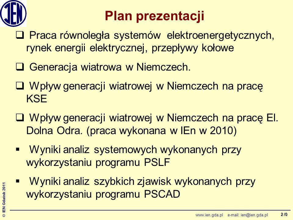 /0 © IEN Gdańsk 2011 www.ien.gda.pl e-mail: ien@ien.gda.pl 2 Plan prezentacji  Praca równoległa systemów elektroenergetycznych, rynek energii elektry