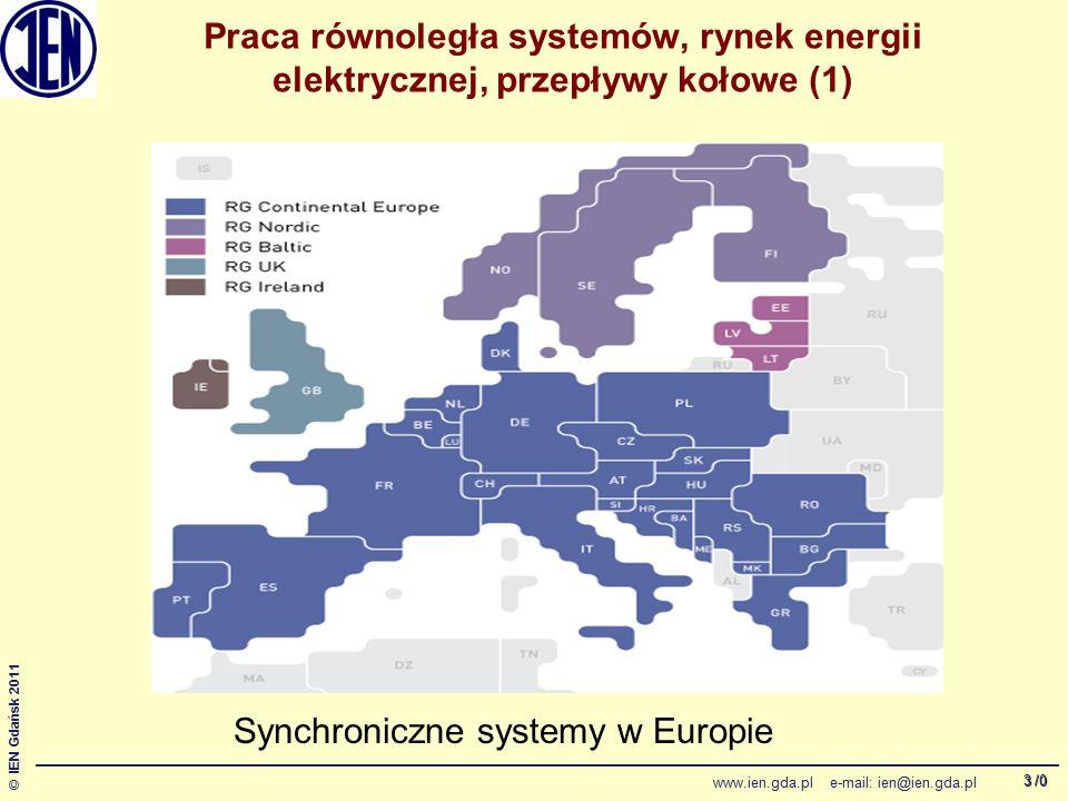 /0 © IEN Gdańsk 2011 www.ien.gda.pl e-mail: ien@ien.gda.pl 3 Praca równoległa systemów, rynek energii elektrycznej, przepływy kołowe (1) Synchroniczne systemy w Europie