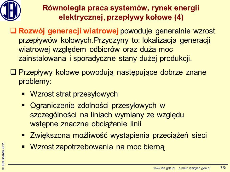 /0 © IEN Gdańsk 2011 www.ien.gda.pl e-mail: ien@ien.gda.pl 18 Analiza systemowa – symulacje sekwencji przełączeniowej dla przesyłu 1100 MW Moce bierne generatorów w El.