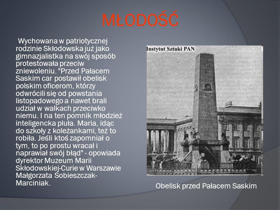 MŁODOŚĆ Wychowana w patriotycznej rodzinie Skłodowska już jako gimnazjalistka na swój sposób protestowała przeciw zniewoleniu.