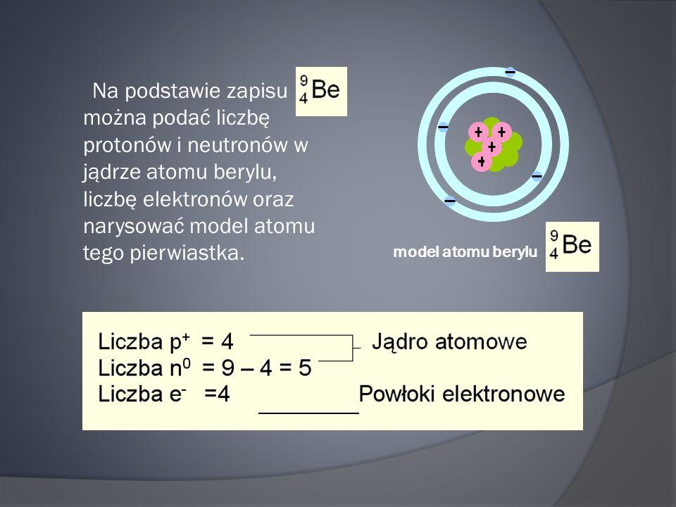 Na podstawie zapisu można podać liczbę protonów i neutronów w jądrze atomu berylu, liczbę elektronów oraz narysować model atomu tego pierwiastka.