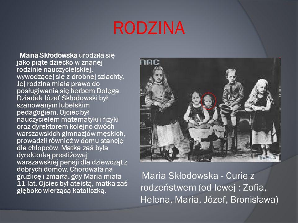 RODZINA Maria Skłodowska urodziła się jako piąte dziecko w znanej rodzinie nauczycielskiej, wywodzącej się z drobnej szlachty.