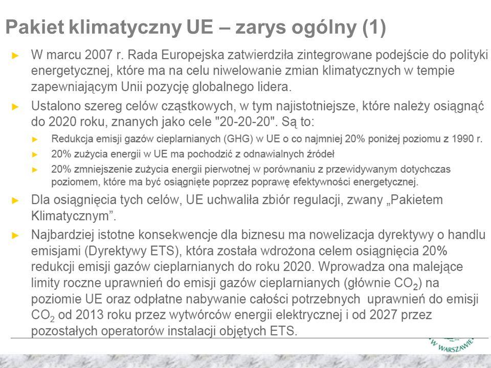 Pakiet klimatyczny UE – zarys ogólny (1)