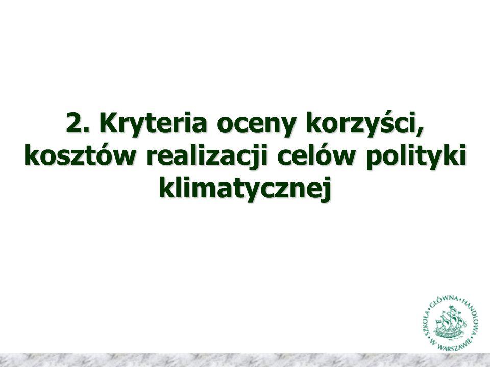2. Kryteria oceny korzyści, kosztów realizacji celów polityki klimatycznej