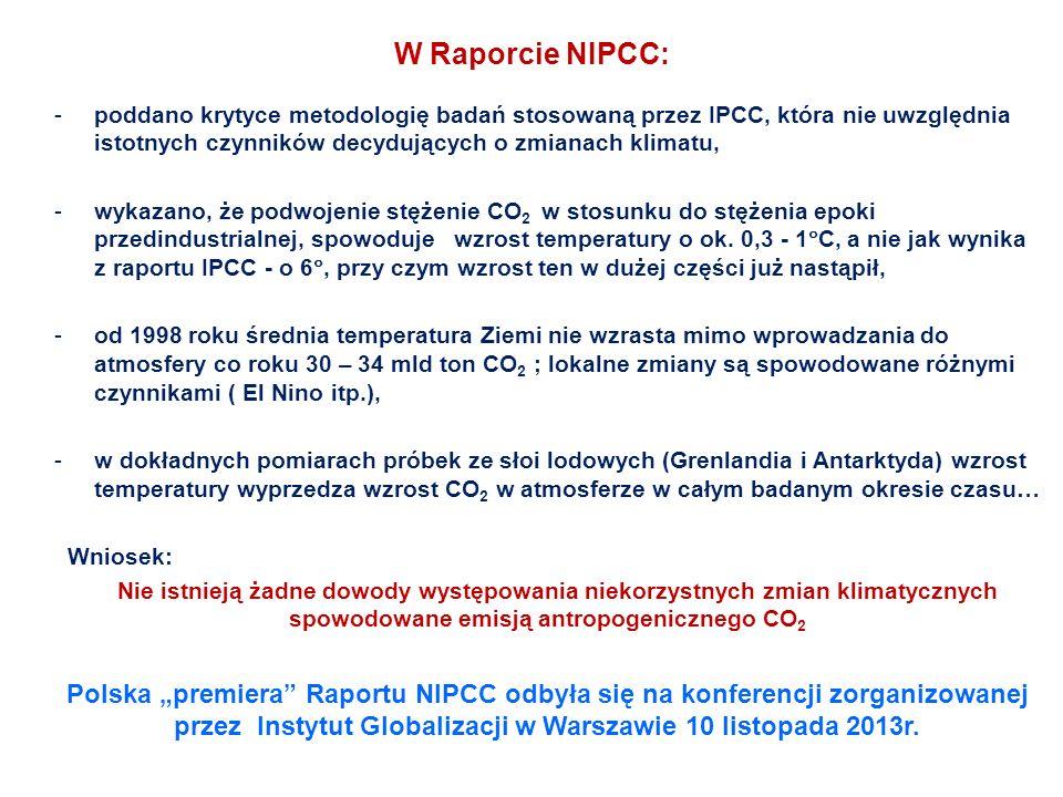 W Raporcie NIPCC: -poddano krytyce metodologię badań stosowaną przez IPCC, która nie uwzględnia istotnych czynników decydujących o zmianach klimatu, -wykazano, że podwojenie stężenie CO 2 w stosunku do stężenia epoki przedindustrialnej, spowoduje wzrost temperatury o ok.