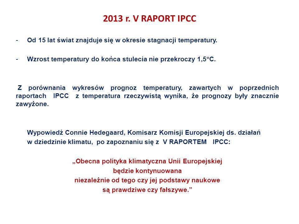 2013 r. V RAPORT IPCC -Od 15 lat świat znajduje się w okresie stagnacji temperatury.