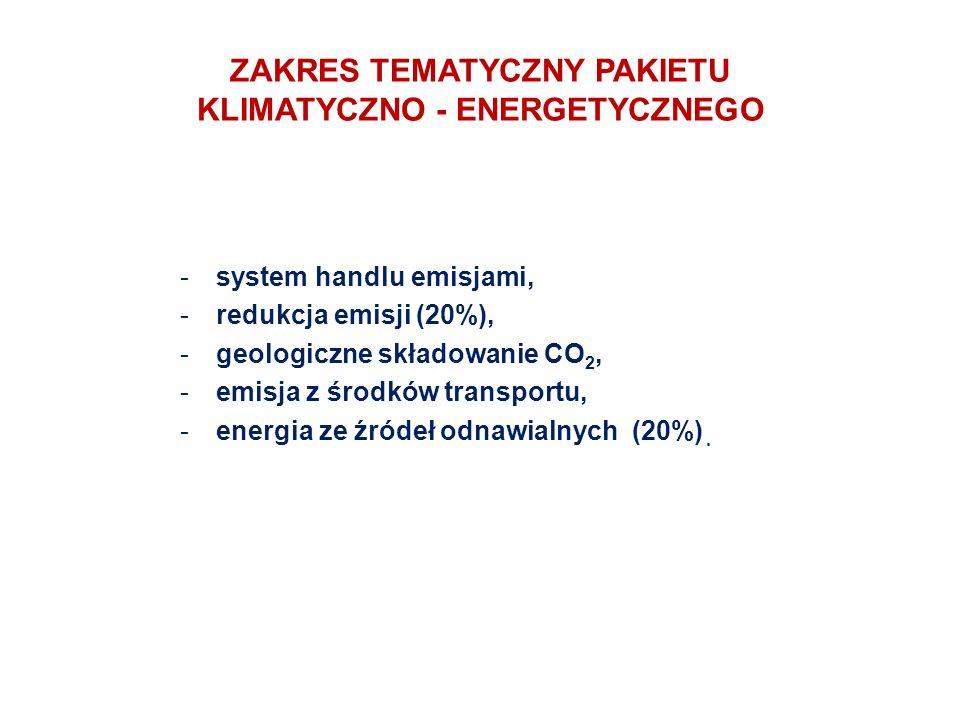 ZAKRES TEMATYCZNY PAKIETU KLIMATYCZNO - ENERGETYCZNEGO -system handlu emisjami, -redukcja emisji (20%), -geologiczne składowanie CO 2, -emisja z środków transportu, -energia ze źródeł odnawialnych (20%).