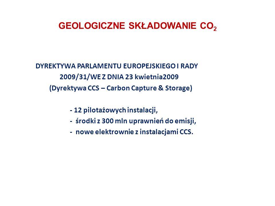GEOLOGICZNE SKŁADOWANIE CO 2 DYREKTYWA PARLAMENTU EUROPEJSKIEGO I RADY 2009/31/WE Z DNIA 23 kwietnia2009 (Dyrektywa CCS – Carbon Capture & Storage) - 12 pilotażowych instalacji, - środki z 300 mln uprawnień do emisji, - nowe elektrownie z instalacjami CCS.
