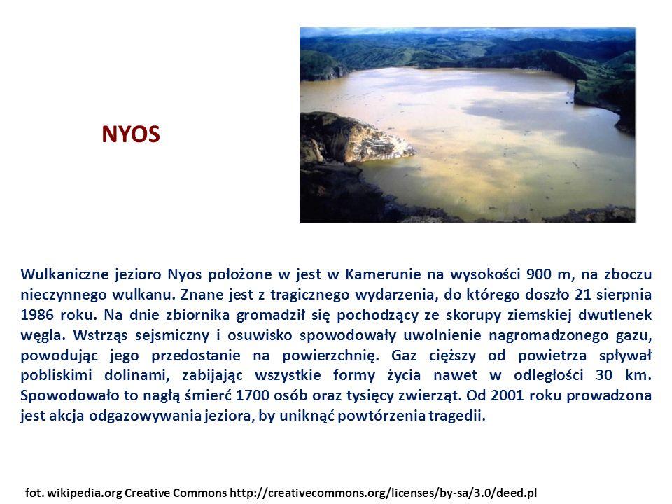 Wulkaniczne jezioro Nyos położone w jest w Kamerunie na wysokości 900 m, na zboczu nieczynnego wulkanu.