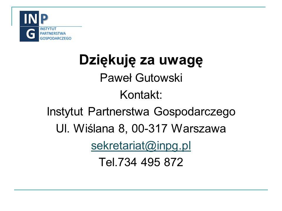 Dziękuję za uwagę Paweł Gutowski Kontakt: Instytut Partnerstwa Gospodarczego Ul.