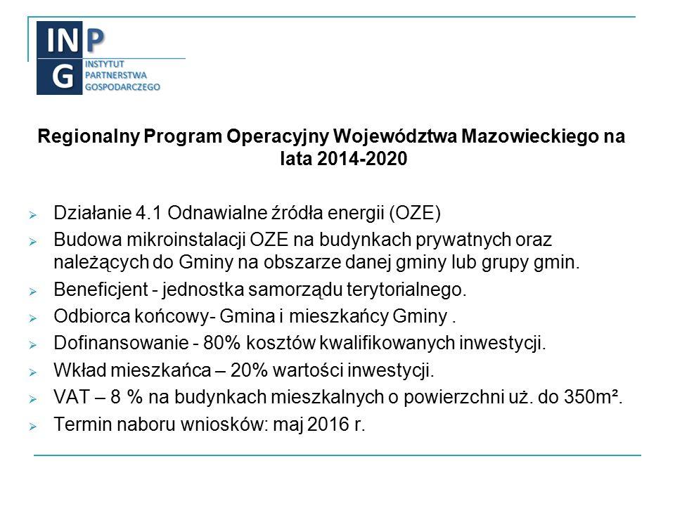Regionalny Program Operacyjny Województwa Mazowieckiego na lata 2014-2020  Działanie 4.1 Odnawialne źródła energii (OZE)  Budowa mikroinstalacji OZE na budynkach prywatnych oraz należących do Gminy na obszarze danej gminy lub grupy gmin.