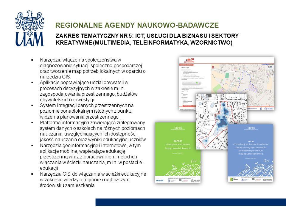 REGIONALNE AGENDY NAUKOWO-BADAWCZE  Narzędzia włączenia społeczeństwa w diagnozowanie sytuacji społeczno-gospodarczej oraz tworzenie map potrzeb loka