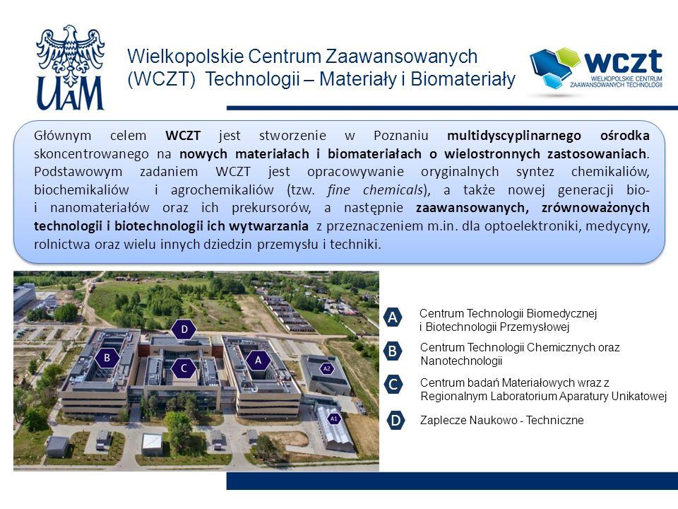 Wielkopolskie Centrum Zaawansowanych (WCZT) Technologii – Materiały i Biomateriały Głównym celem WCZT jest stworzenie w Poznaniu multidyscyplinarnego