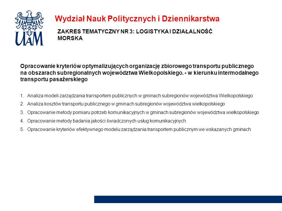 Wydział Nauk Politycznych i Dziennikarstwa Opracowanie kryteriów optymalizujących organizację zbiorowego transportu publicznego na obszarach subregion