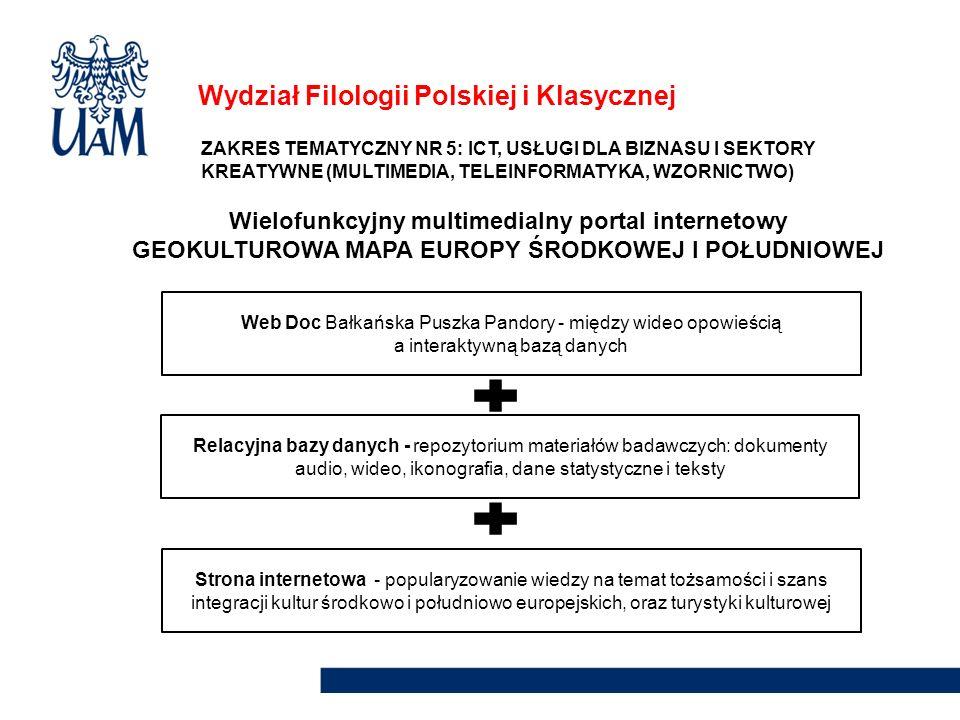Wydział Filologii Polskiej i Klasycznej ZAKRES TEMATYCZNY NR 5: ICT, USŁUGI DLA BIZNASU I SEKTORY KREATYWNE (MULTIMEDIA, TELEINFORMATYKA, WZORNICTWO)