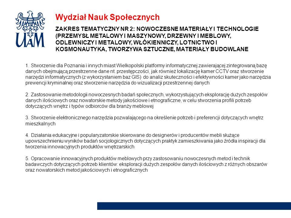 Wydział Nauk Społecznych 1. Stworzenie dla Poznania i innych miast Wielkopolski platformy informatycznej zawierającej zintegrowaną bazę danych obejmuj