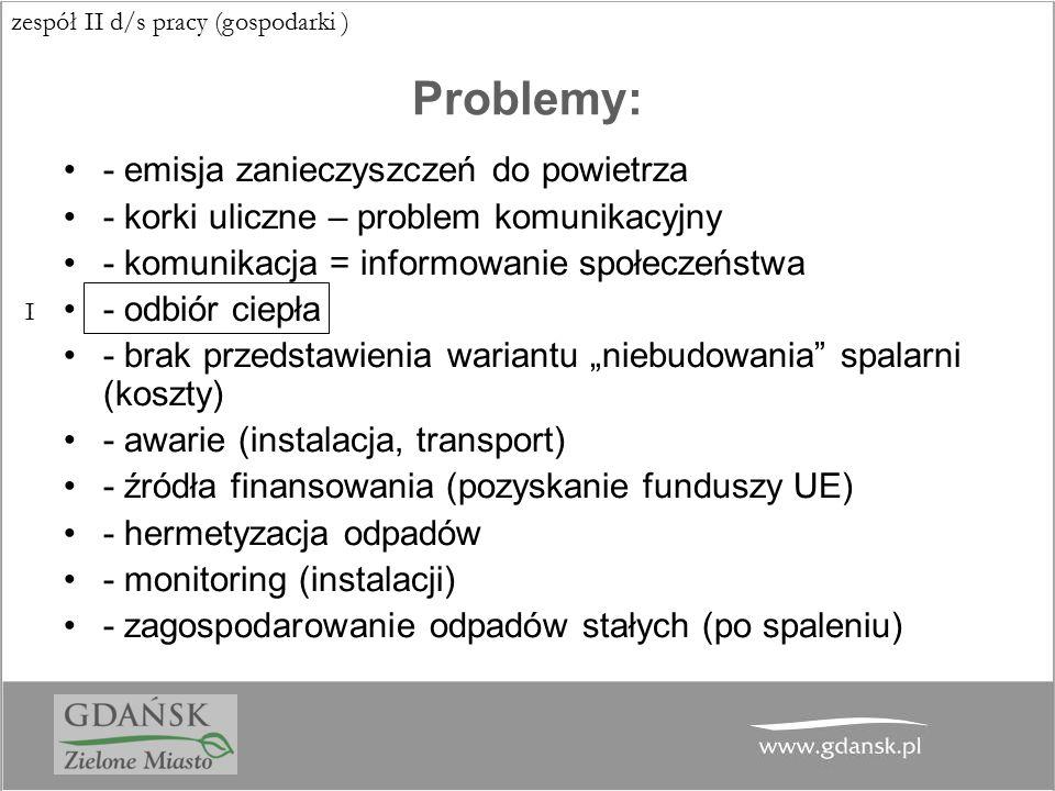 Problemy: - emisja zanieczyszczeń do powietrza - korki uliczne – problem komunikacyjny - komunikacja = informowanie społeczeństwa - odbiór ciepła - br