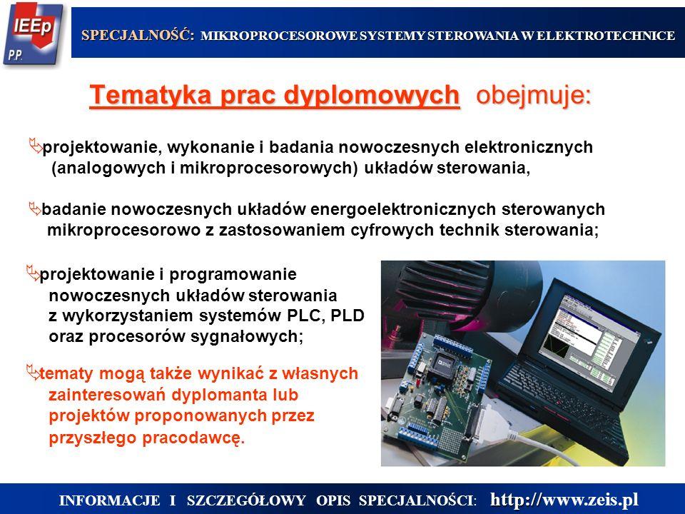  projektowanie i programowanie nowoczesnych układów sterowania z wykorzystaniem systemów PLC, PLD oraz procesorów sygnałowych;  tematy mogą także wynikać z własnych zainteresowań dyplomanta lub projektów proponowanych przez przyszłego pracodawcę.