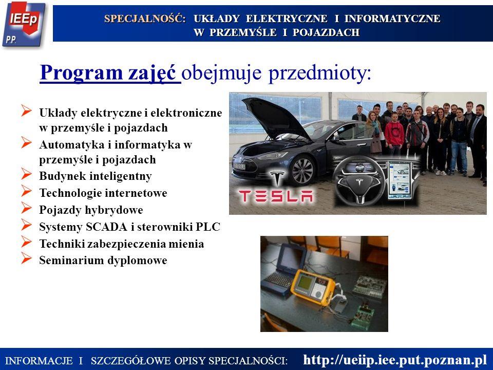 25 Program zajęć obejmuje przedmioty:  Układy elektryczne i elektroniczne w przemyśle i pojazdach  Automatyka i informatyka w przemyśle i pojazdach  Budynek inteligentny  Technologie internetowe  Pojazdy hybrydowe  Systemy SCADA i sterowniki PLC  Techniki zabezpieczenia mienia  Seminarium dyplomowe SPECJALNOŚĆ: UKŁADY ELEKTRYCZNE I INFORMATYCZNE W PRZEMYŚLE I POJAZDACH INFORMACJE I SZCZEGÓŁOWE OPISY SPECJALNOŚCI: http://ueiip.iee.put.poznan.pl
