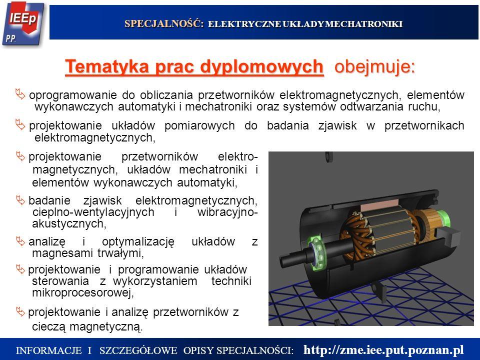 6  projektowanie przetworników elektro- magnetycznych, układów mechatroniki i elementów wykonawczych automatyki,  badanie zjawisk elektromagnetycznych, cieplno-wentylacyjnych i wibracyjno- akustycznych,  analizę i optymalizację układów z magnesami trwałymi,  projektowanie i programowanie układów sterowania z wykorzystaniem techniki mikroprocesorowej,  projektowanie i analizę przetworników z cieczą magnetyczną.