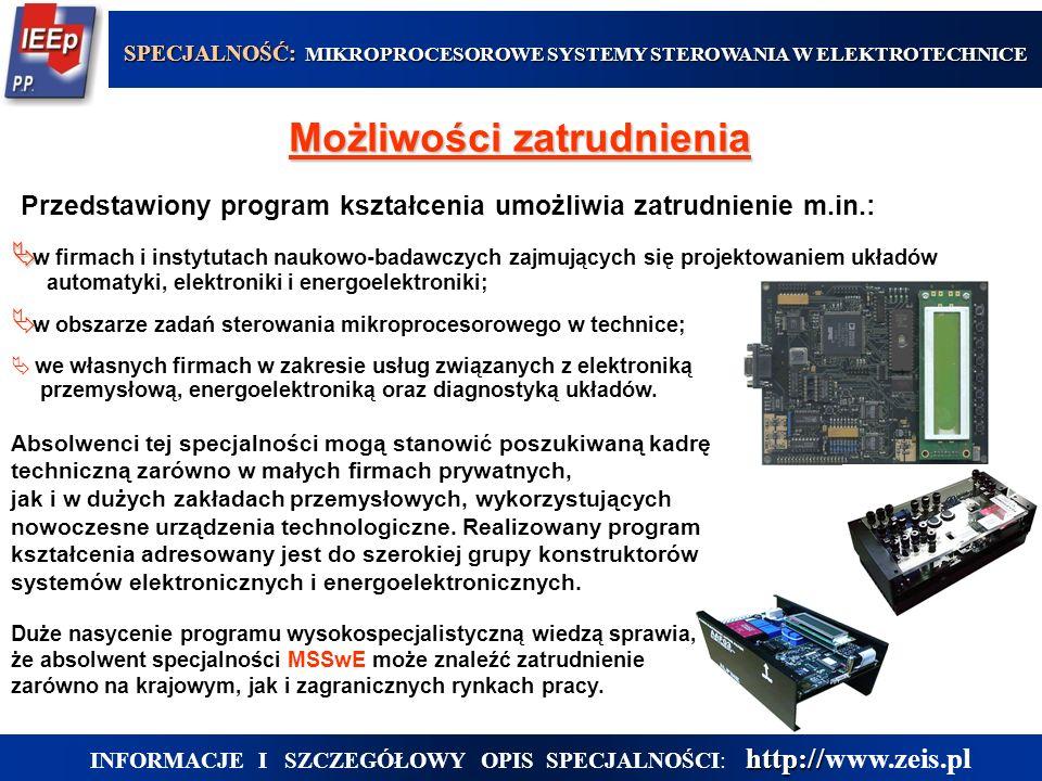  w obszarze zadań sterowania mikroprocesorowego w technice;  we własnych firmach w zakresie usług związanych z elektroniką przemysłową, energoelektroniką oraz diagnostyką układów.