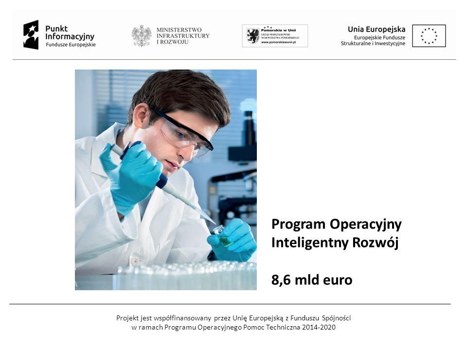 Projekt jest współfinansowany przez Unię Europejską z Funduszu Spójności w ramach Programu Operacyjnego Pomoc Techniczna 2014-2020 Program Operacyjny Inteligentny Rozwój 8,6 mld euro