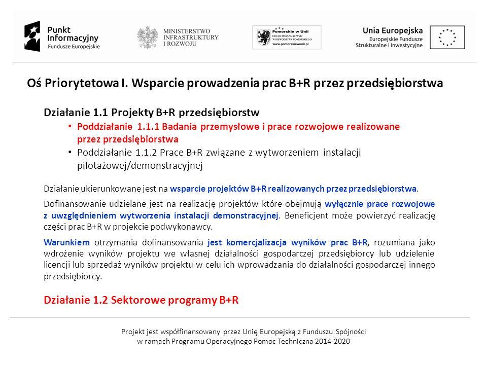 Projekt jest współfinansowany przez Unię Europejską z Funduszu Spójności w ramach Programu Operacyjnego Pomoc Techniczna 2014-2020 Działanie 1.1 Projekty B+R przedsiębiorstw Poddziałanie 1.1.1 Badania przemysłowe i prace rozwojowe realizowane przez przedsiębiorstwa Poddziałanie 1.1.2 Prace B+R związane z wytworzeniem instalacji pilotażowej/demonstracyjnej Działanie ukierunkowane jest na wsparcie projektów B+R realizowanych przez przedsiębiorstwa.