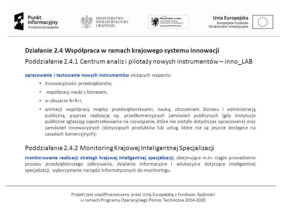 Projekt jest współfinansowany przez Unię Europejską z Funduszu Spójności w ramach Programu Operacyjnego Pomoc Techniczna 2014-2020 Działanie 2.4 Współpraca w ramach krajowego systemu innowacji Poddziałanie 2.4.1 Centrum analiz i pilotaży nowych instrumentów – inno_LAB opracowanie i testowanie nowych instrumentów służących wsparciu: innowacyjności przedsiębiorstw, współpracy nauki z biznesem, w obszarze B+R+I, animacji współpracy między przedsiębiorstwami, nauką, otoczeniem biznesu i administracją publiczną, poprzez realizację np.