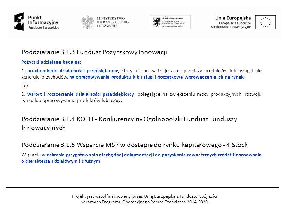 Projekt jest współfinansowany przez Unię Europejską z Funduszu Spójności w ramach Programu Operacyjnego Pomoc Techniczna 2014-2020 Poddziałanie 3.1.3 Fundusz Pożyczkowy Innowacji Pożyczki udzielane będą na: 1.