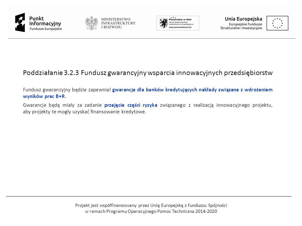 Projekt jest współfinansowany przez Unię Europejską z Funduszu Spójności w ramach Programu Operacyjnego Pomoc Techniczna 2014-2020 Poddziałanie 3.2.3 Fundusz gwarancyjny wsparcia innowacyjnych przedsiębiorstw Fundusz gwarancyjny będzie zapewniał gwarancje dla banków kredytujących nakłady związane z wdrożeniem wyników prac B+R.
