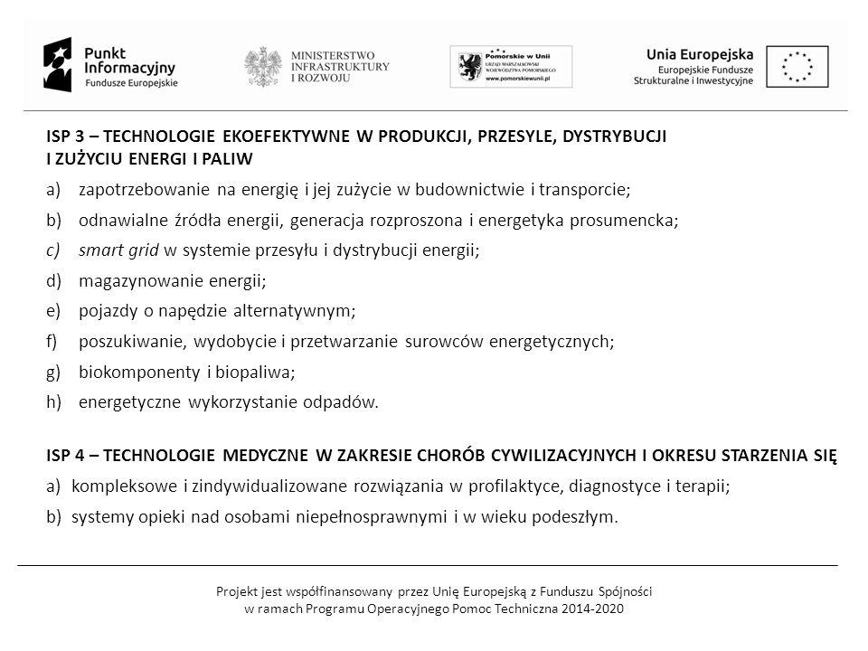Projekt jest współfinansowany przez Unię Europejską z Funduszu Spójności w ramach Programu Operacyjnego Pomoc Techniczna 2014-2020 ISP 3 – TECHNOLOGIE EKOEFEKTYWNE W PRODUKCJI, PRZESYLE, DYSTRYBUCJI I ZUŻYCIU ENERGI I PALIW a)zapotrzebowanie na energię i jej zużycie w budownictwie i transporcie; b)odnawialne źródła energii, generacja rozproszona i energetyka prosumencka; c)smart grid w systemie przesyłu i dystrybucji energii; d)magazynowanie energii; e)pojazdy o napędzie alternatywnym; f)poszukiwanie, wydobycie i przetwarzanie surowców energetycznych; g)biokomponenty i biopaliwa; h)energetyczne wykorzystanie odpadów.