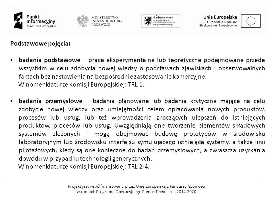 Projekt jest współfinansowany przez Unię Europejską z Funduszu Spójności w ramach Programu Operacyjnego Pomoc Techniczna 2014-2020 Podstawowe pojęcia: badania podstawowe – prace eksperymentalne lub teoretyczne podejmowane przede wszystkim w celu zdobycia nowej wiedzy o podstawach zjawiskach i obserwowalnych faktach bez nastawienia na bezpośrednie zastosowanie komercyjne.