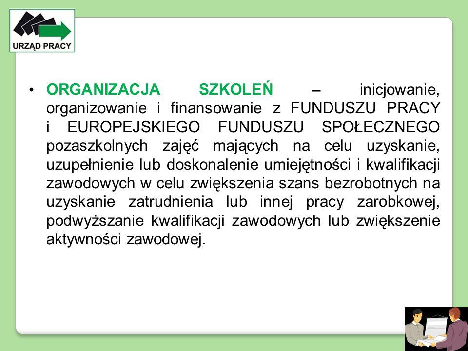 ORGANIZACJA SZKOLEŃ – inicjowanie, organizowanie i finansowanie z FUNDUSZU PRACY i EUROPEJSKIEGO FUNDUSZU SPOŁECZNEGO pozaszkolnych zajęć mających na