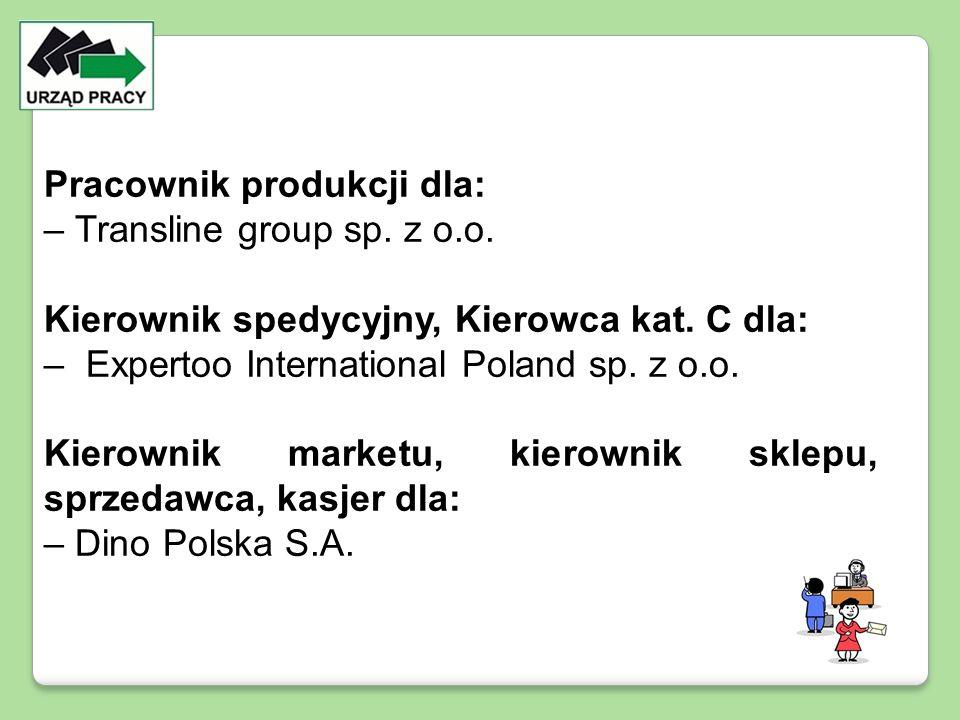 Pracownik produkcji dla: – Transline group sp. z o.o. Kierownik spedycyjny, Kierowca kat. C dla: – Expertoo International Poland sp. z o.o. Kierownik
