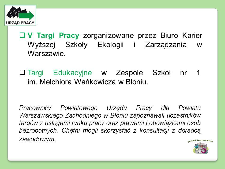  Targi Edukacyjne w Zespole Szkół nr 1 im. Melchiora Wańkowicza w Błoniu. Pracownicy Powiatowego Urzędu Pracy dla Powiatu Warszawskiego Zachodniego w