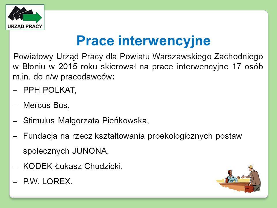 Powiatowy Urząd Pracy dla Powiatu Warszawskiego Zachodniego w Błoniu w 2015 roku skierował na prace interwencyjne 17 osób m.in. do n/w pracodawców: –P