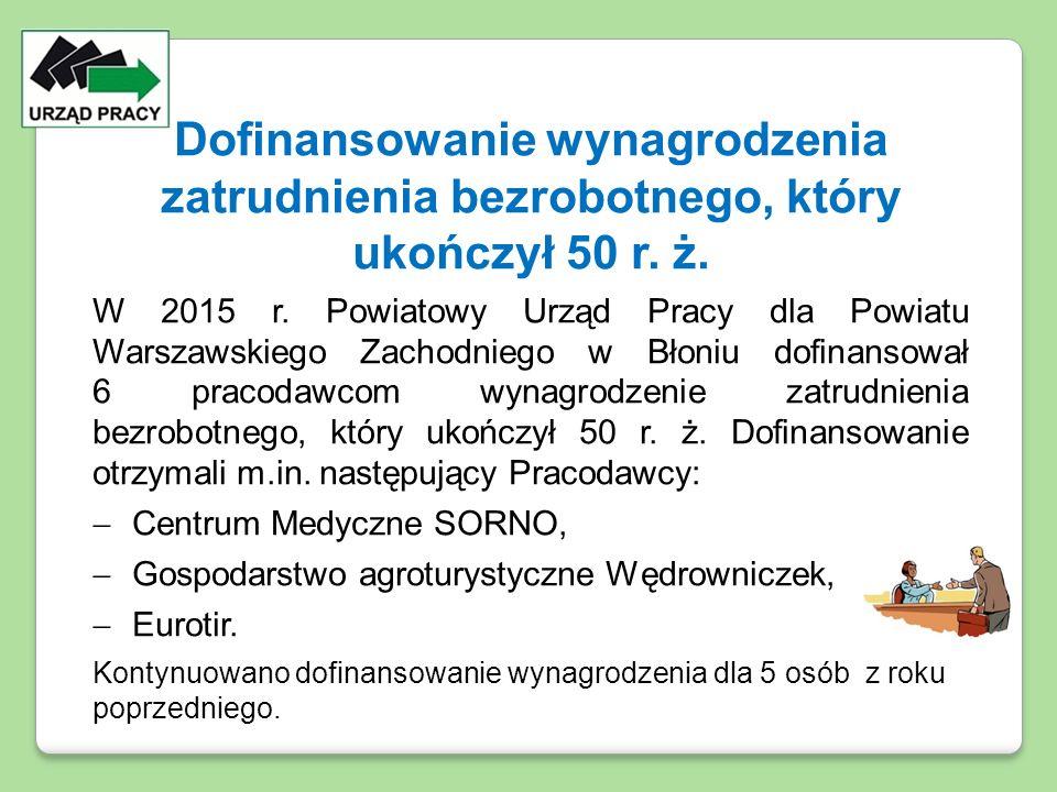 Dofinansowanie wynagrodzenia zatrudnienia bezrobotnego, który ukończył 50 r. ż. W 2015 r. Powiatowy Urząd Pracy dla Powiatu Warszawskiego Zachodniego
